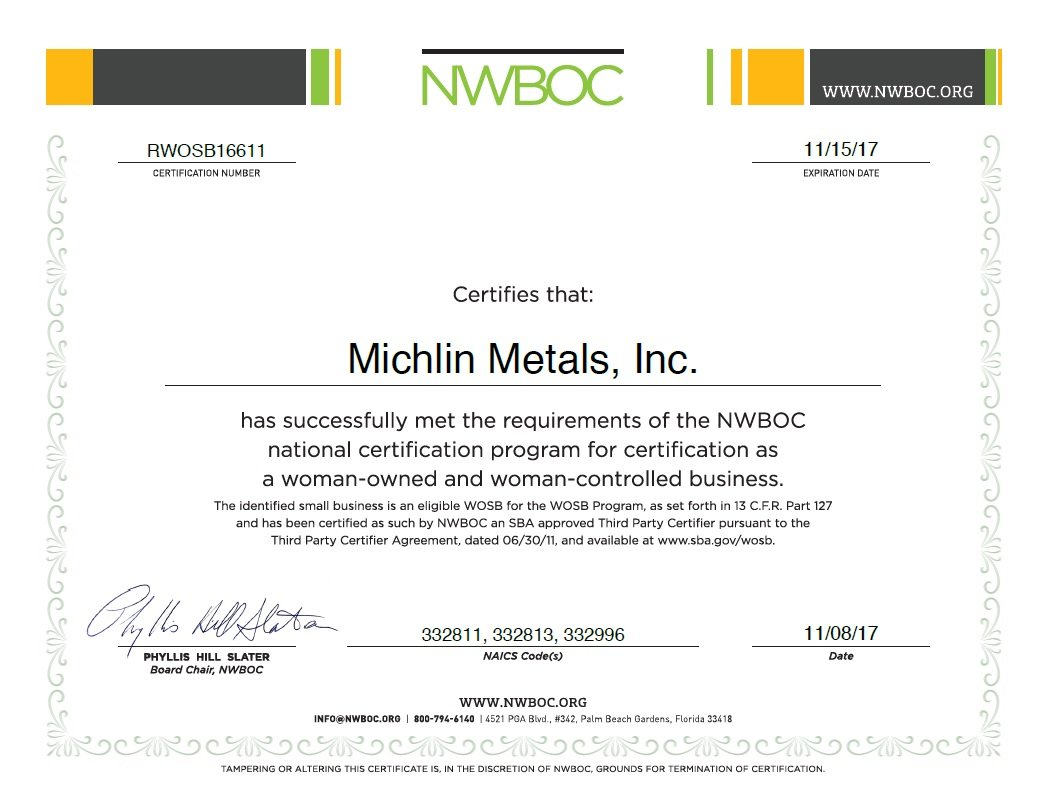 Michlin Metals Woman Owned Small Business & SBA Certification