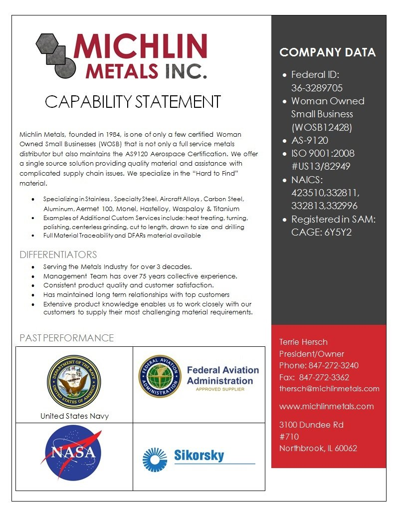 Michlin Metals Capability Statement