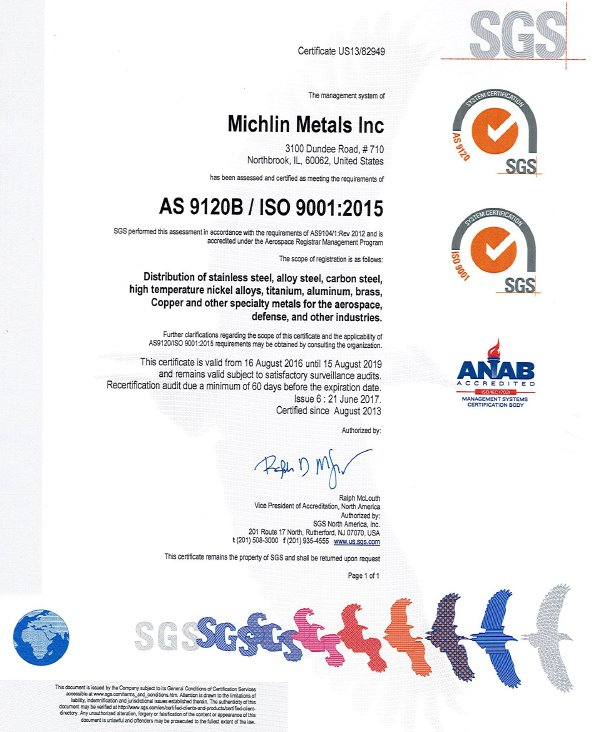 Michlin Metals AS 9120 ISO 9001 2017 Certification