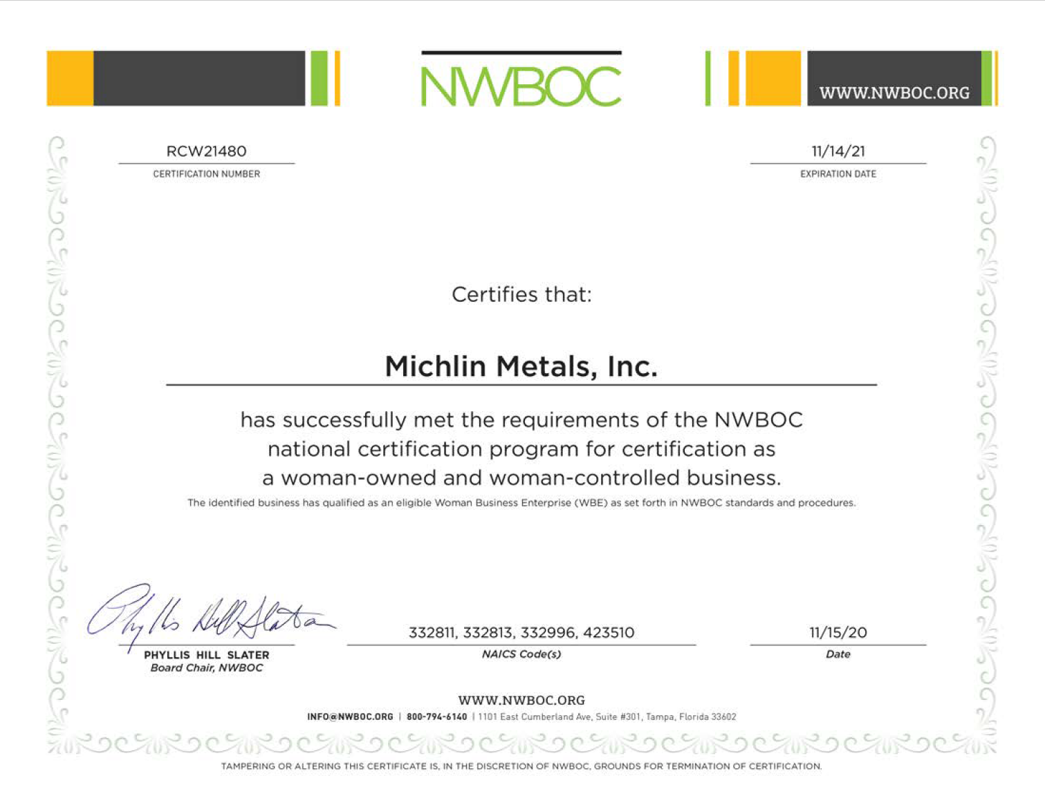Michlin Metals is a Woman Owned Small Business that is AS9120 and ISO 9001 certified. Michlin can quote on any metals needs. This image is our WOSB Certification.